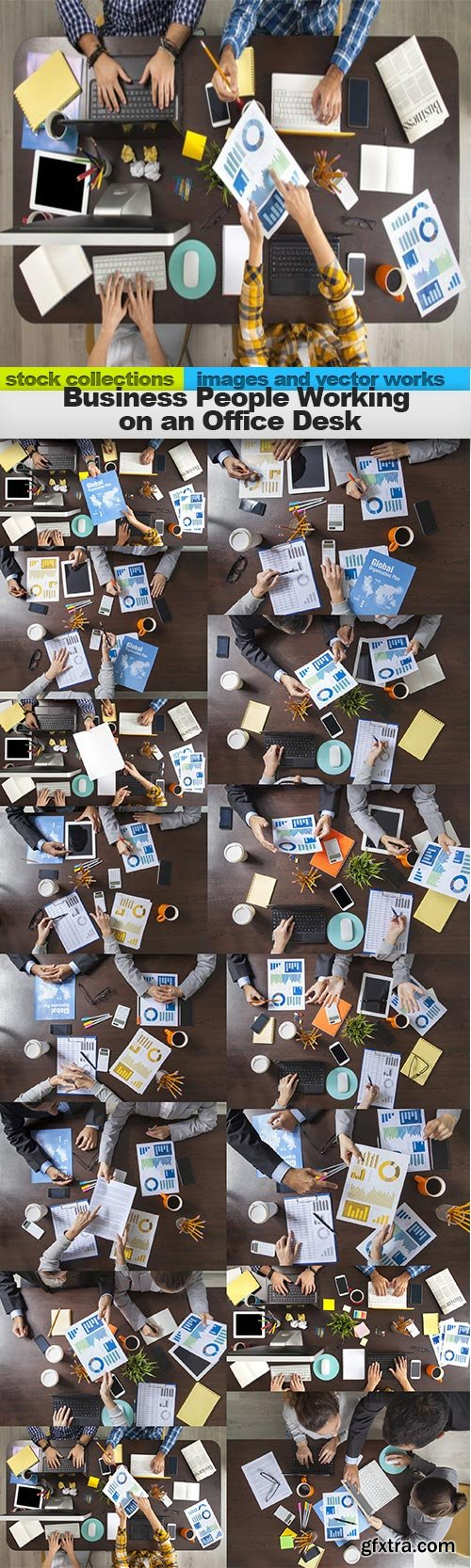 Business People Working on an Office Desk, 15 x UHQ JPEG