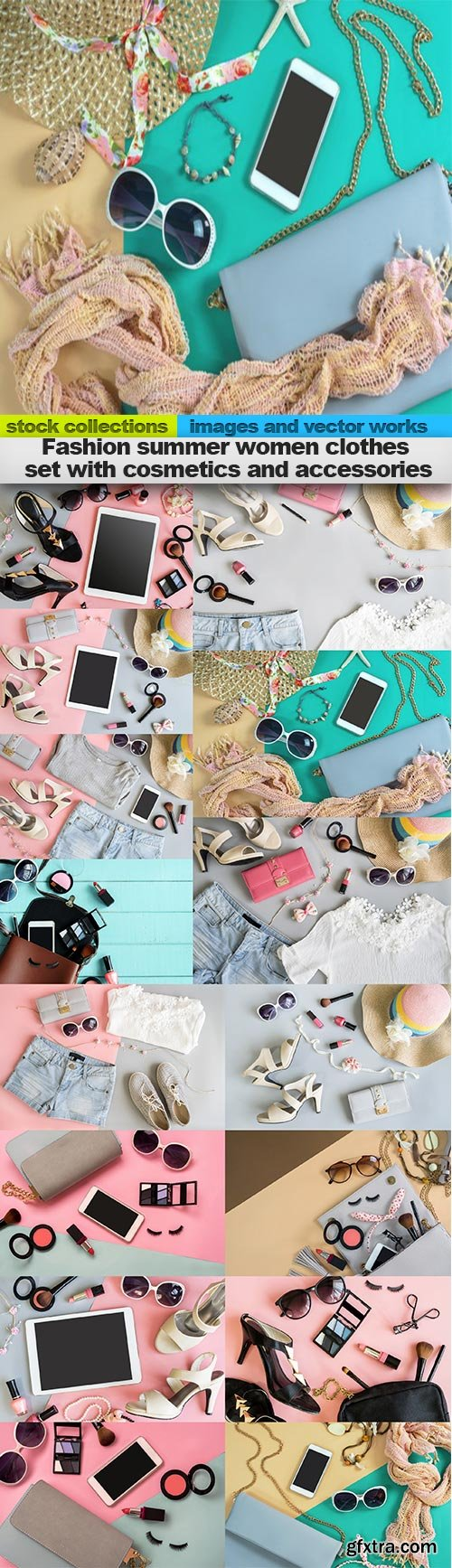 Fashion summer women clothes set with cosmetics and accessories, 15 x UHQ JPEG