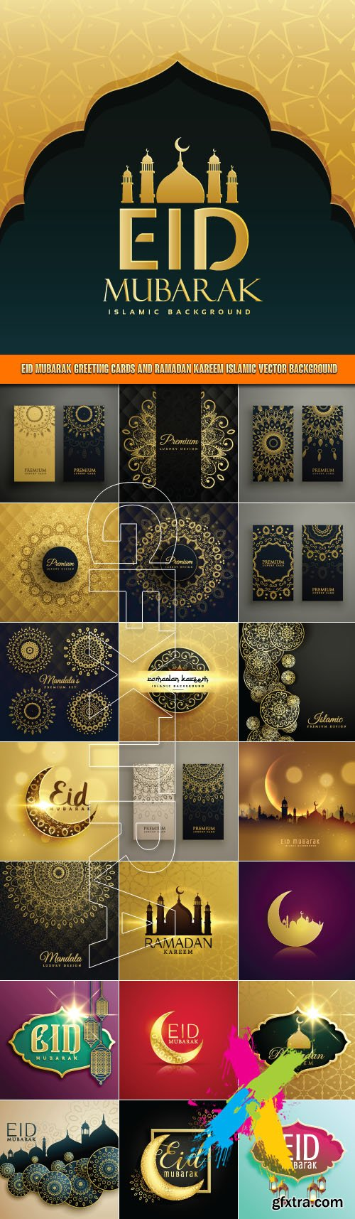 Eid Mubarak Greeting Cards And Ramadan Kareem Islamic Vector