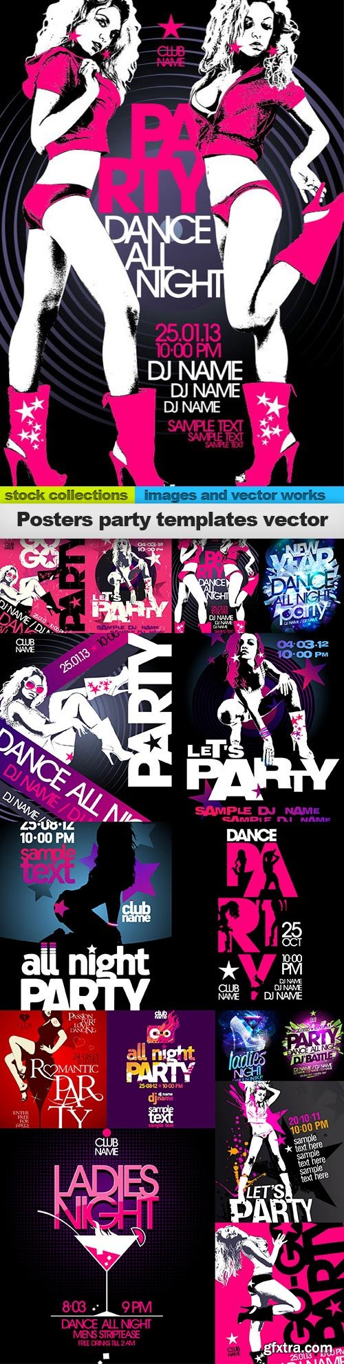 Posters party templates vector, 15 x EPS