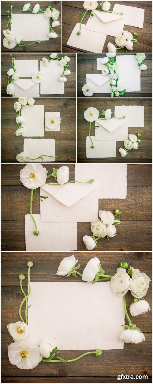 Cards and flowers on wooden background 8X JPEG