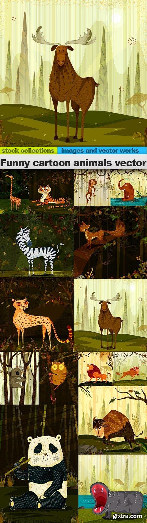 Funny cartoon animals vector, 15 x EPS