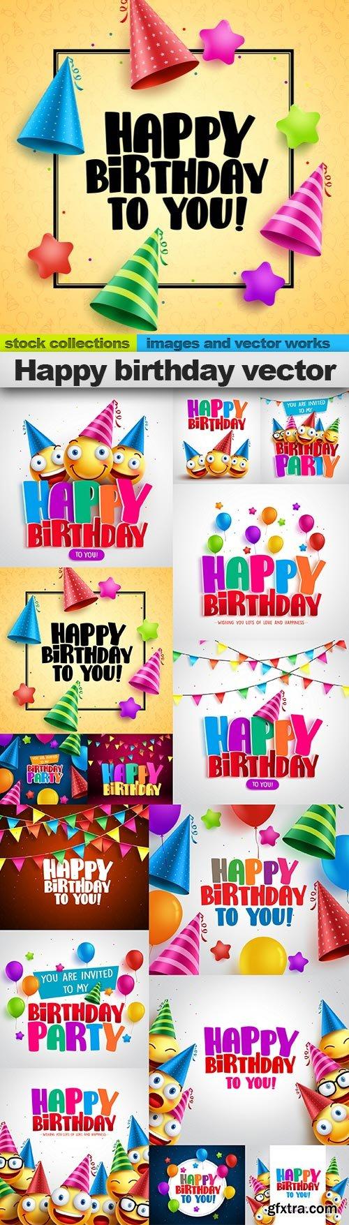 Happy birthday vector, 15 x EPS
