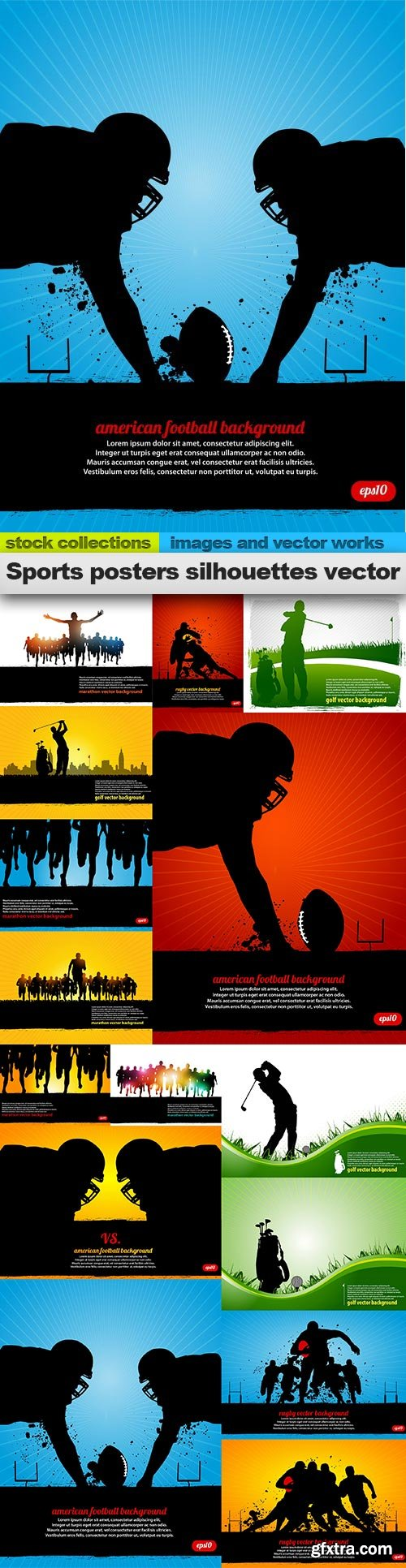 Sports posters silhouettes vector, 15 x EPS