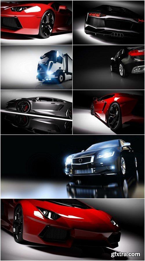 Fast sports car in spotlight, black background 8X JPEG
