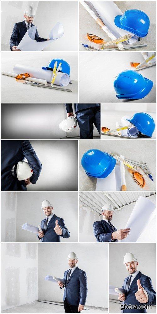 Businessman and blueprints at construction sites 12X JPEG
