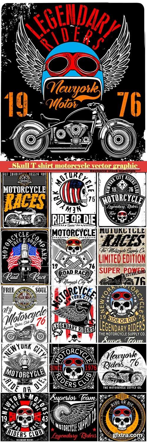 Skull T shirt motorcycle vector graphic design