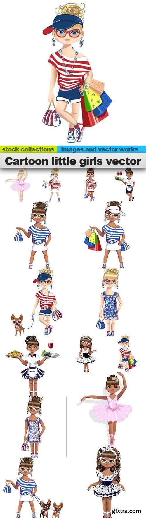 Cartoon little girls vector, 15 x EPS