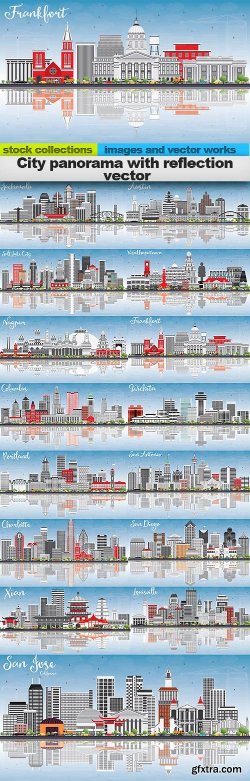 City panorama with reflection vector, 15 x EPS