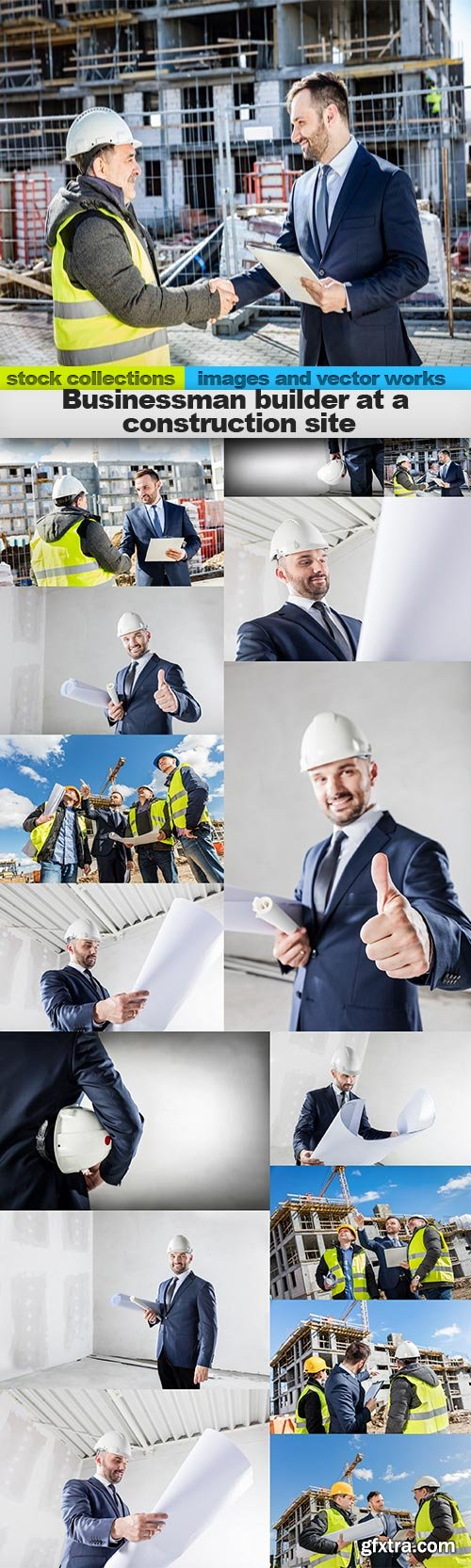Businessman builder at a construction site, 15 x UHQ JPEG