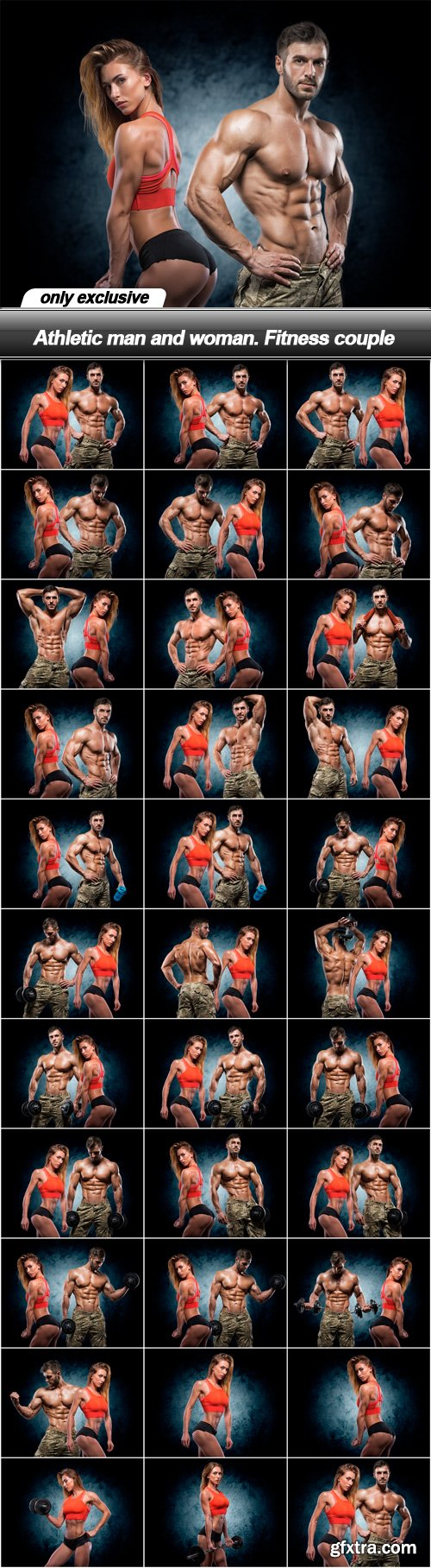Athletic man and woman. Fitness couple - 32 UHQ JPEG