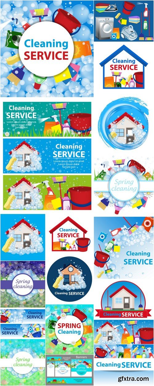 Cleaning service illustration Poster template for house cleaning services 18X JPEG
