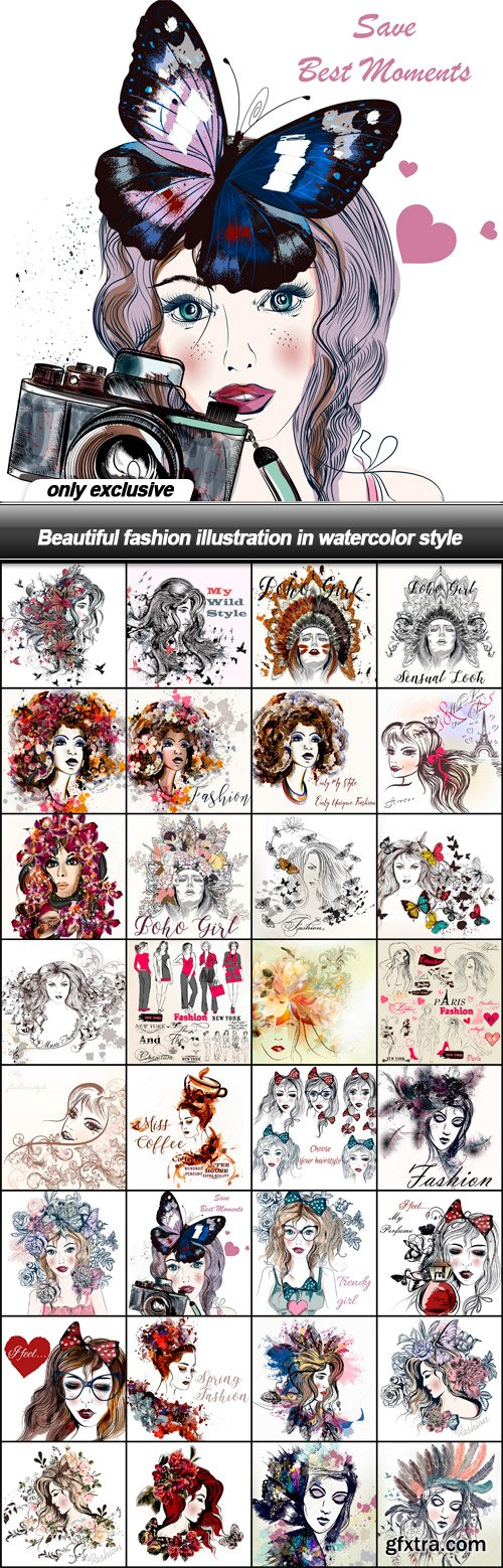 Beautiful fashion illustration in watercolor style - 32 EPS