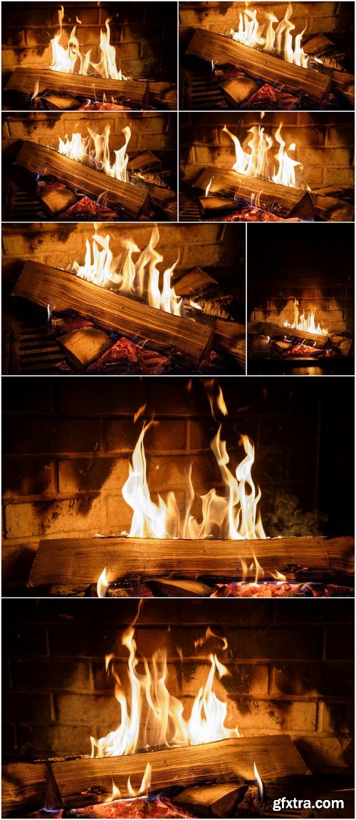 Fire burns in the fireplace 8X JPEG