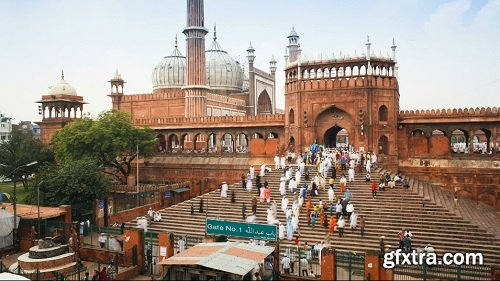 People leaving the jama masjid friday mosque after the friday prayers old