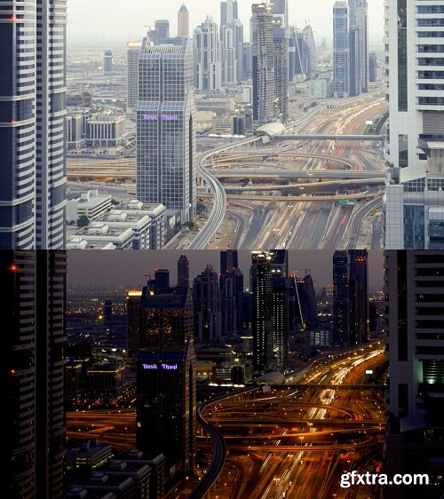United Arab Emirates Dubai timelapse over Sheikh Zayed rd showing the new