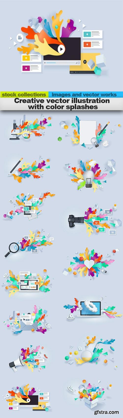 Creative vector illustration with color splashes, 15 x EPS