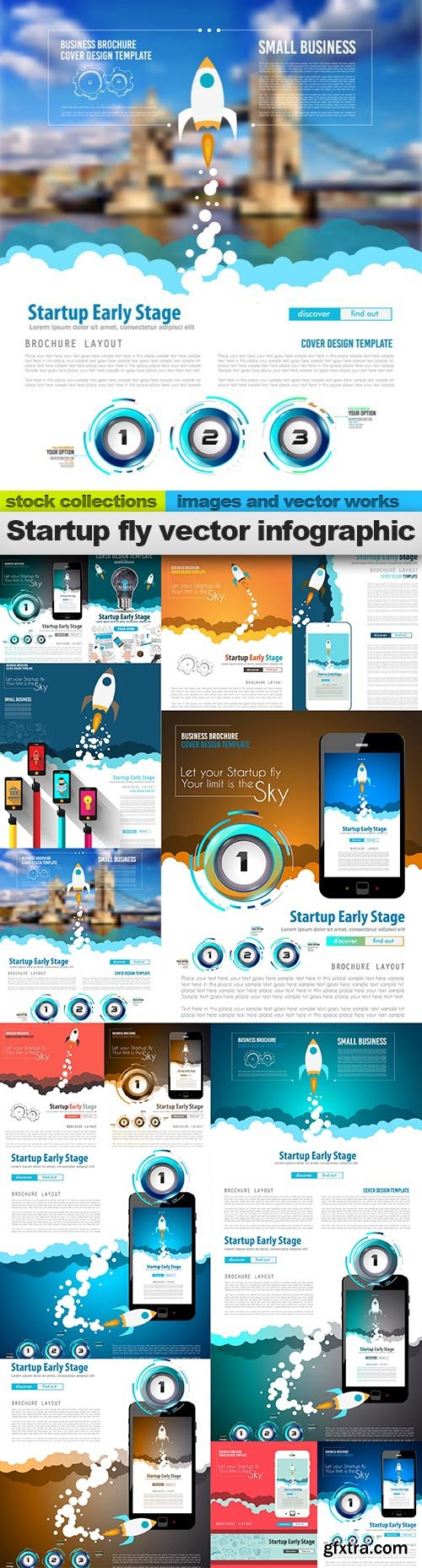 Startup fly vector infographic, 15 x EPS