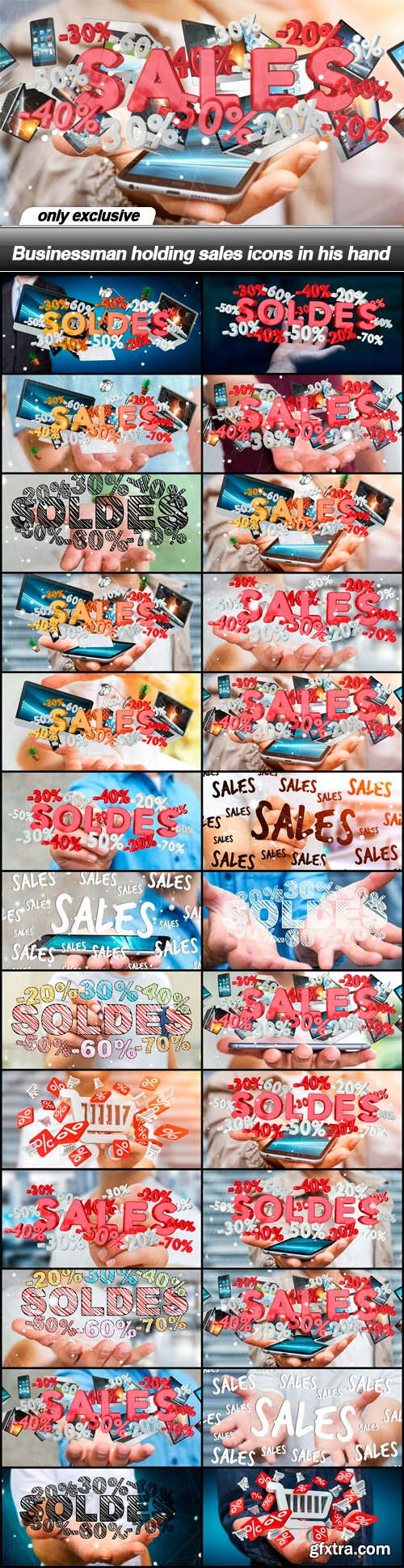 Businessman holding sales icons in his hand - 26 UHQ JPEG