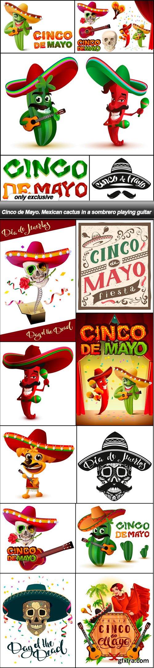 Cinco de Mayo. Mexican cactus in a sombrero playing guitar - 15 EPS