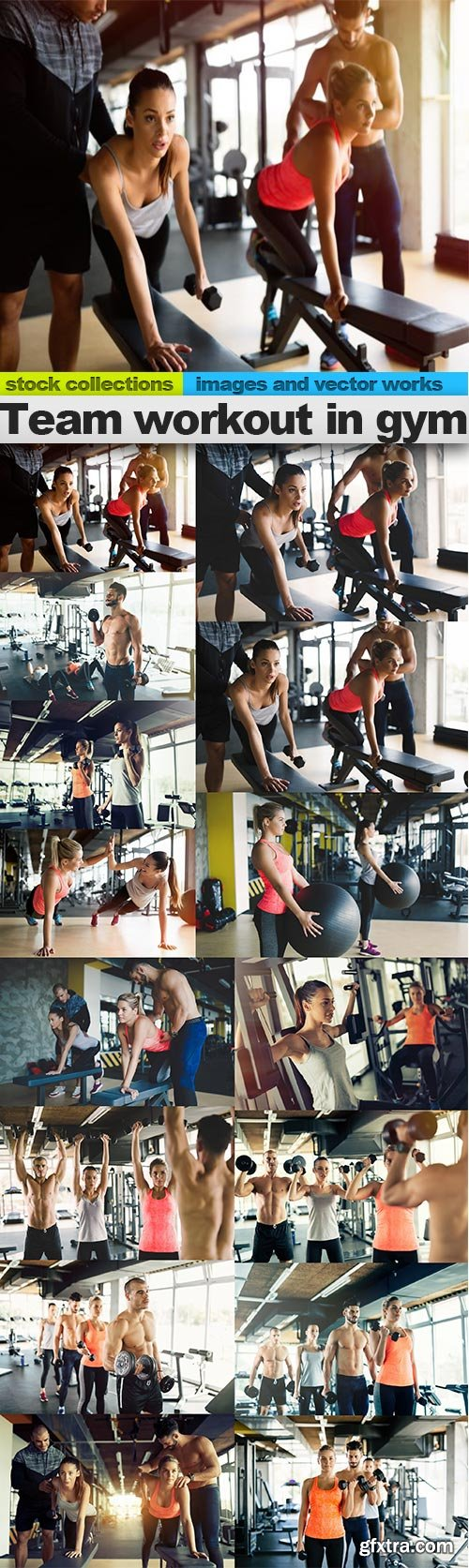 Team workout in gym, 15 x UHQ JPEG