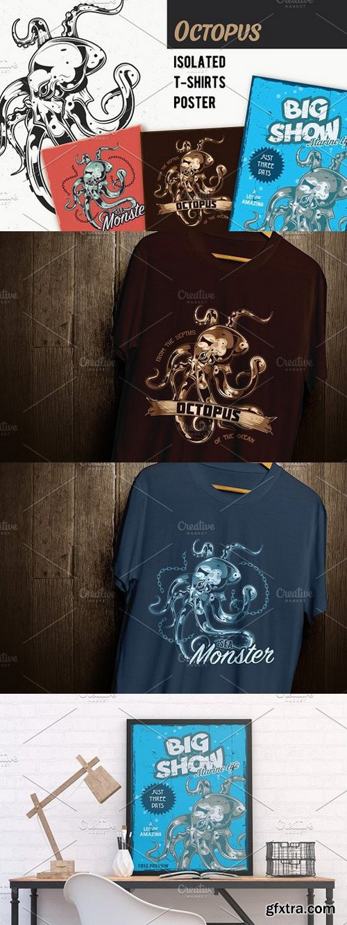 CM - Octopus T-shirts And Poster Labels 1461891