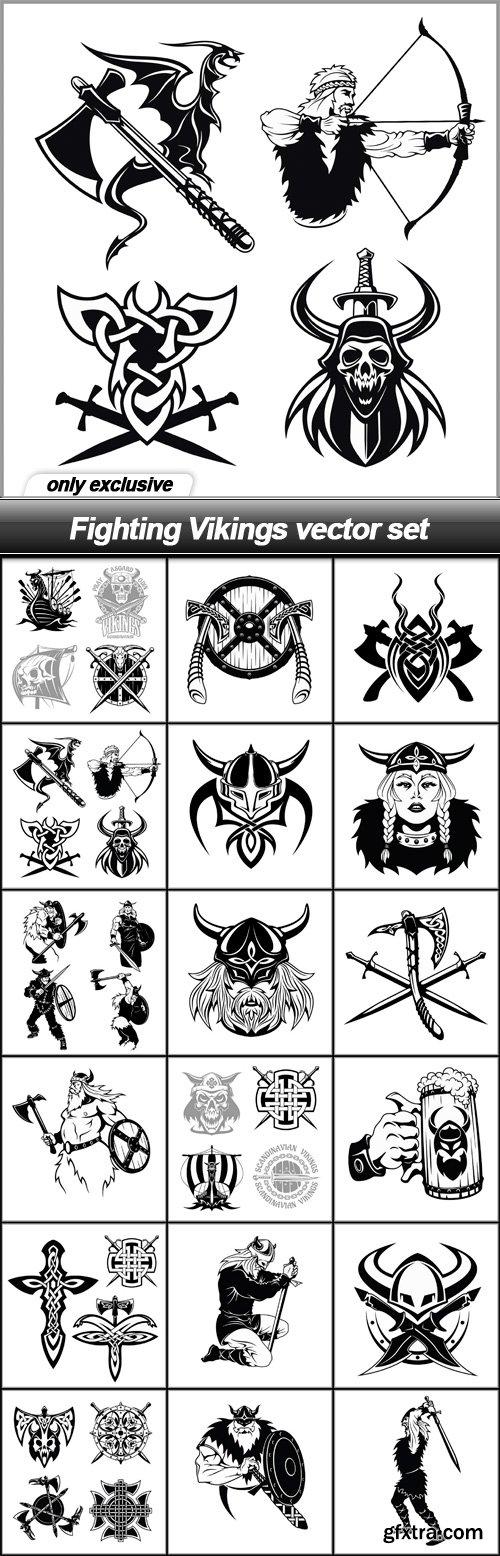 Fighting Vikings vector set - 18 EPS