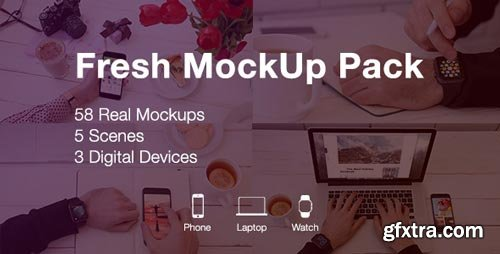 Videohive - Fresh Mockup Pack // Phone, Laptop, Watch Devices - 19983797