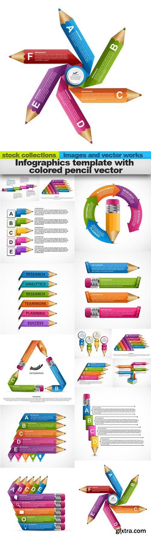 Infographics template with colored pencil vector, 15 x EPS