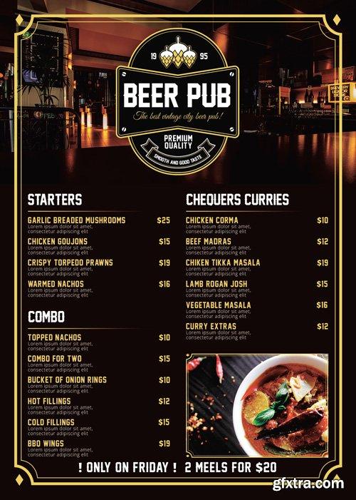 Beer Pub Menu - Premium A5 Flyer Template