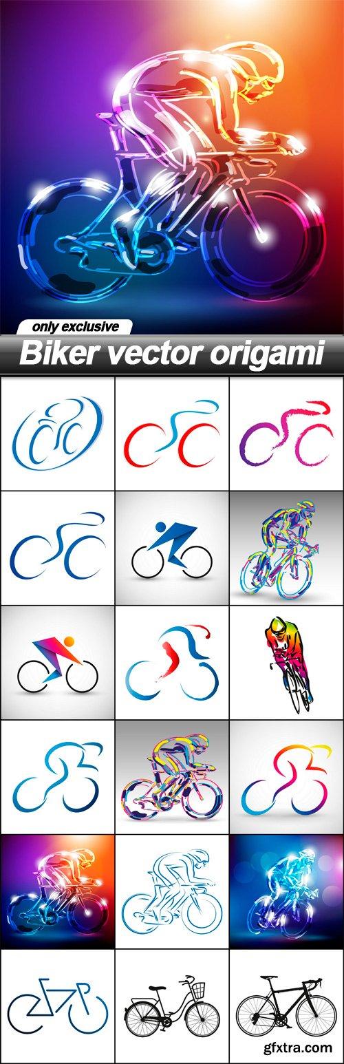 Biker vector origami - 18 EPS