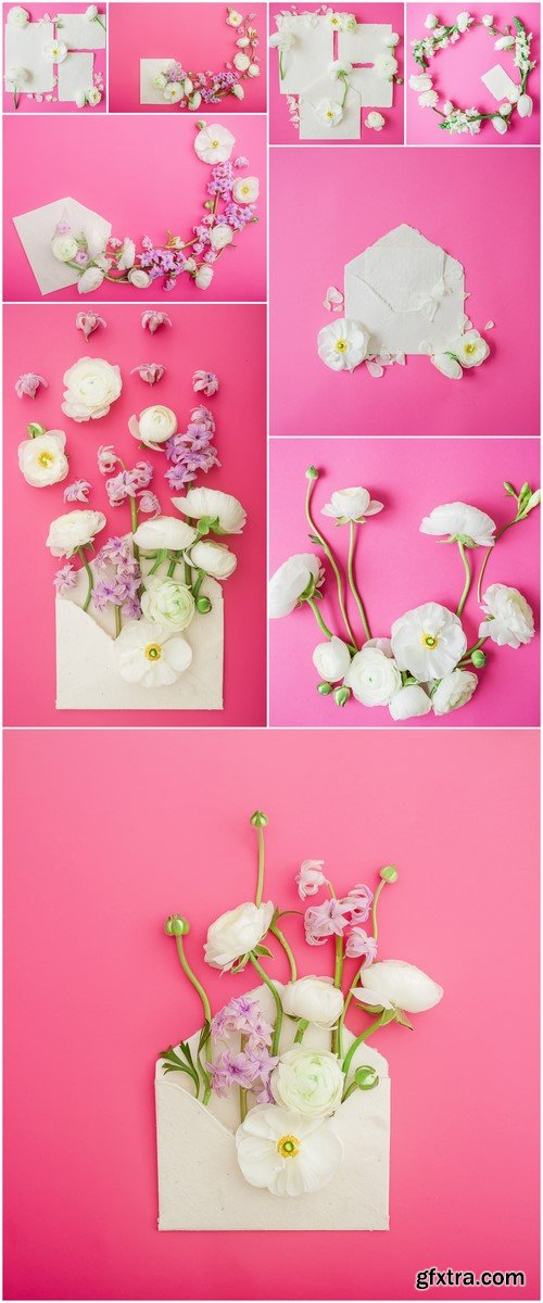 Cards and flowers on a pink background 9X JPEG