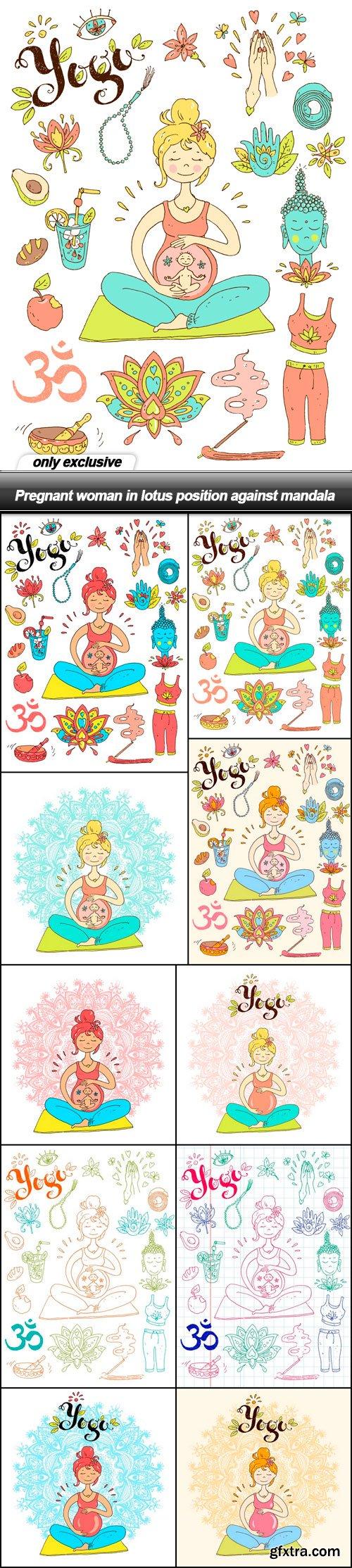 Pregnant woman in lotus position against mandala - 10 EPS