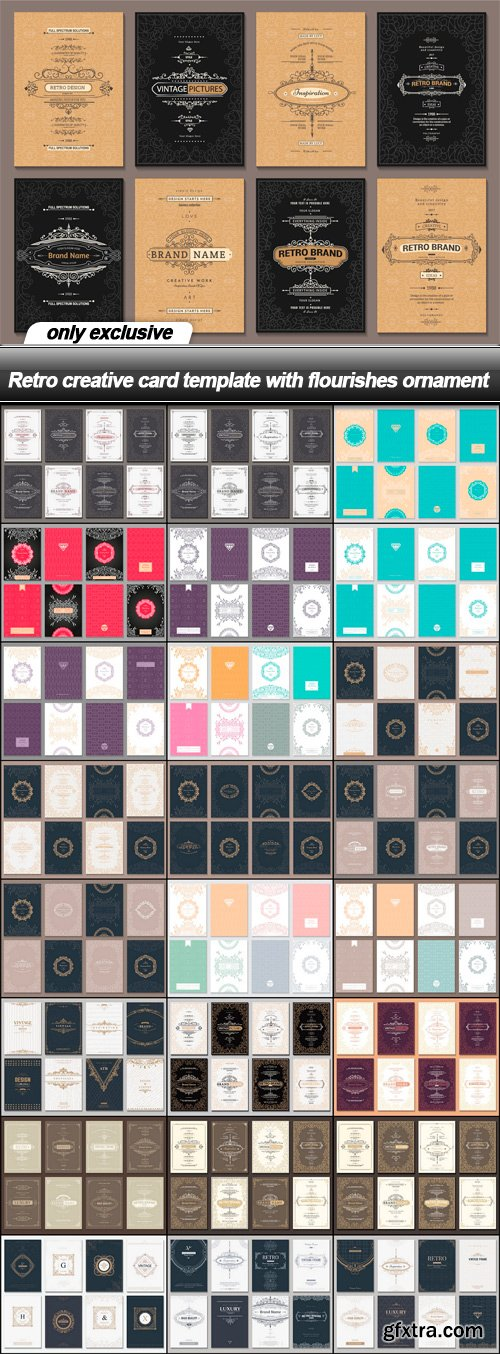 Retro creative card template with flourishes ornament - 25 EPS