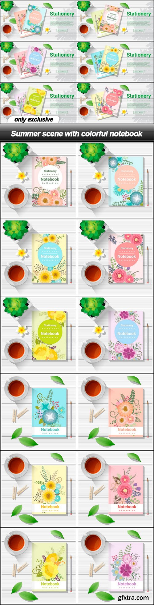Summer scene with colorful notebook - 18 EPS