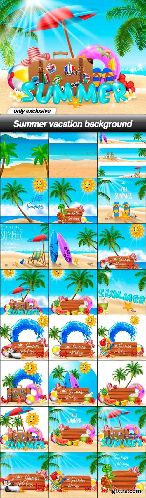 Summer vacation background - 24 EPS