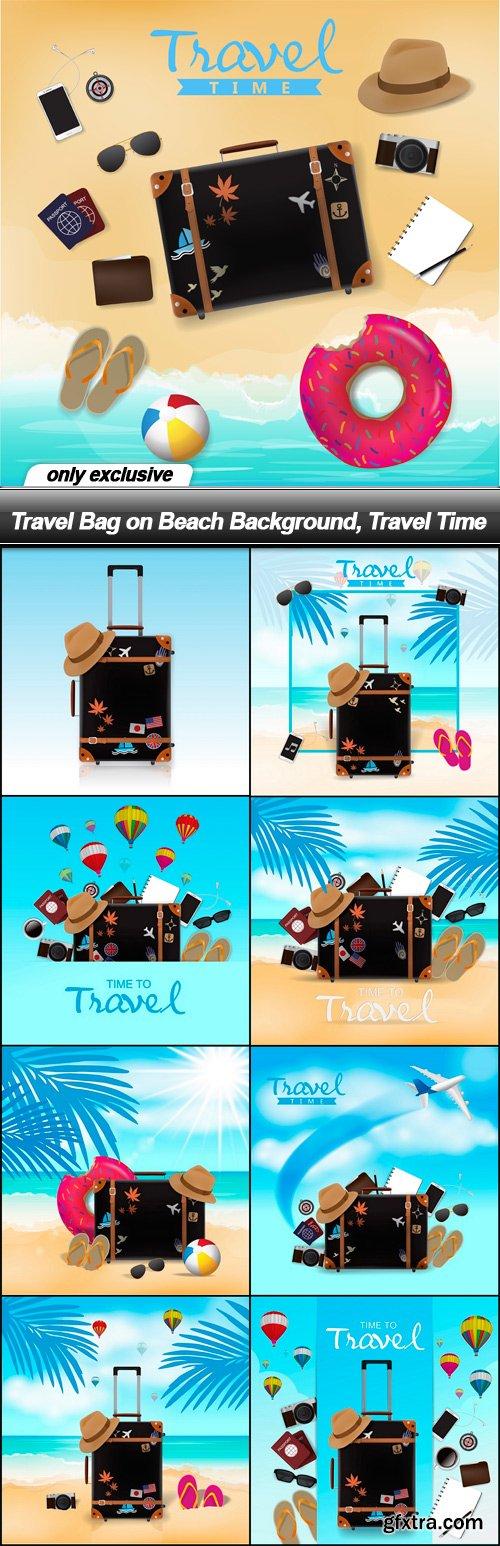 Travel Bag on Beach Background, Travel Time - 9 EPS