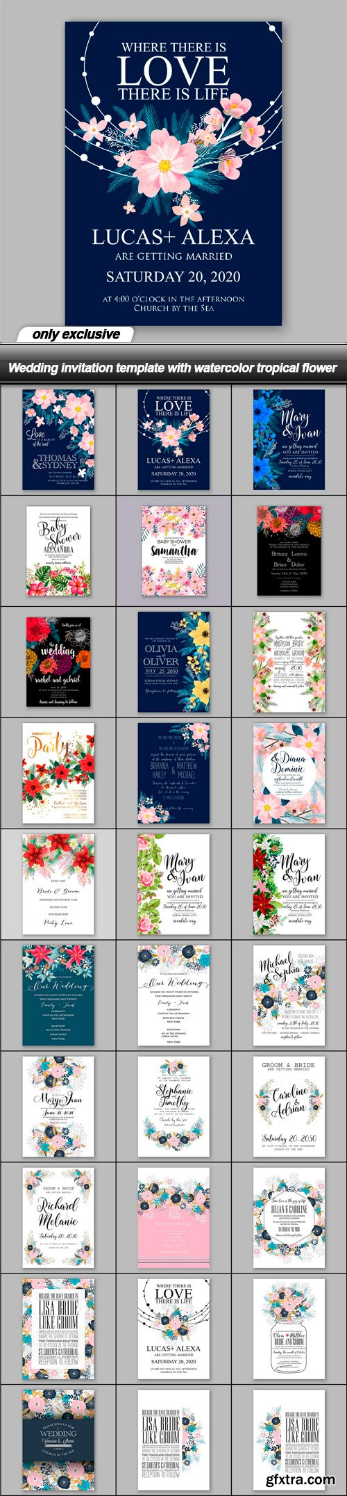 Wedding invitation template with watercolor tropical flower - 30 EPS