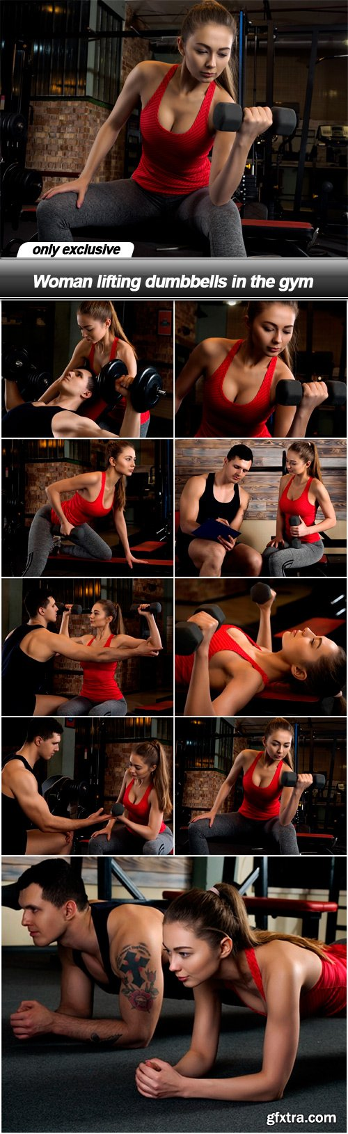 Woman lifting dumbbells in the gym - 9 UHQ JPEG