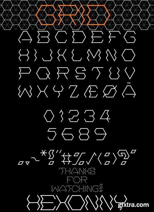 Font design Hexonny Font