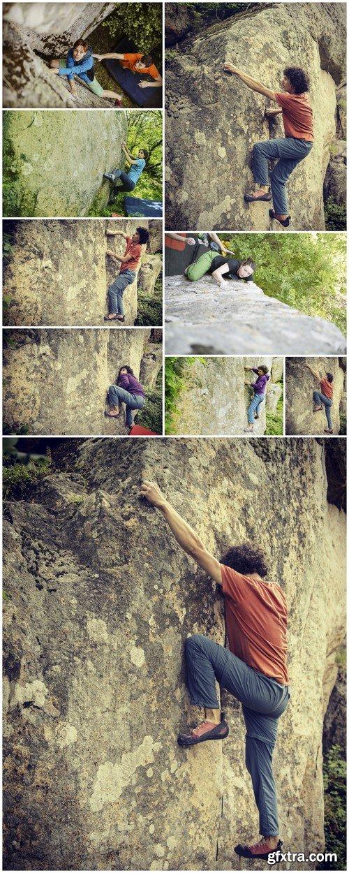 Climber to climb a big wall 9X JPEG