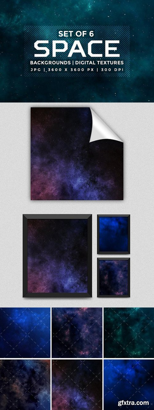 CM - Set of 6 space background textures 1505170