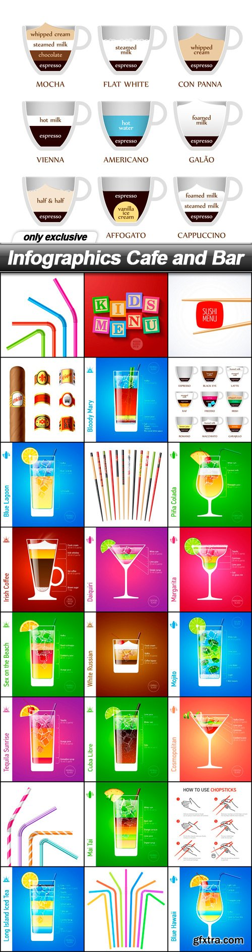 Infographics Cafe and Bar - 25 EPS