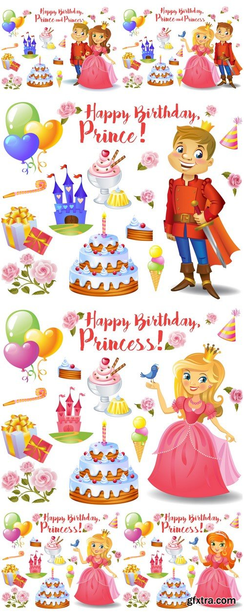 Birthday prince and princess 6X EPS