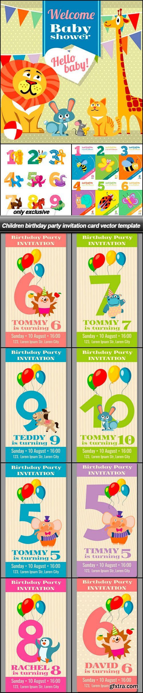 Children birthday party invitation card vector template - 11 EPS