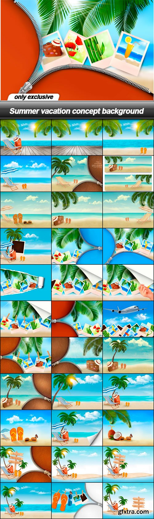 Summer vacation concept background - 34 EPS