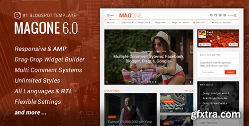 ThemeForest - MagOne v6.2.6 - Responsive News Magazine & Blogger Template - 12016203