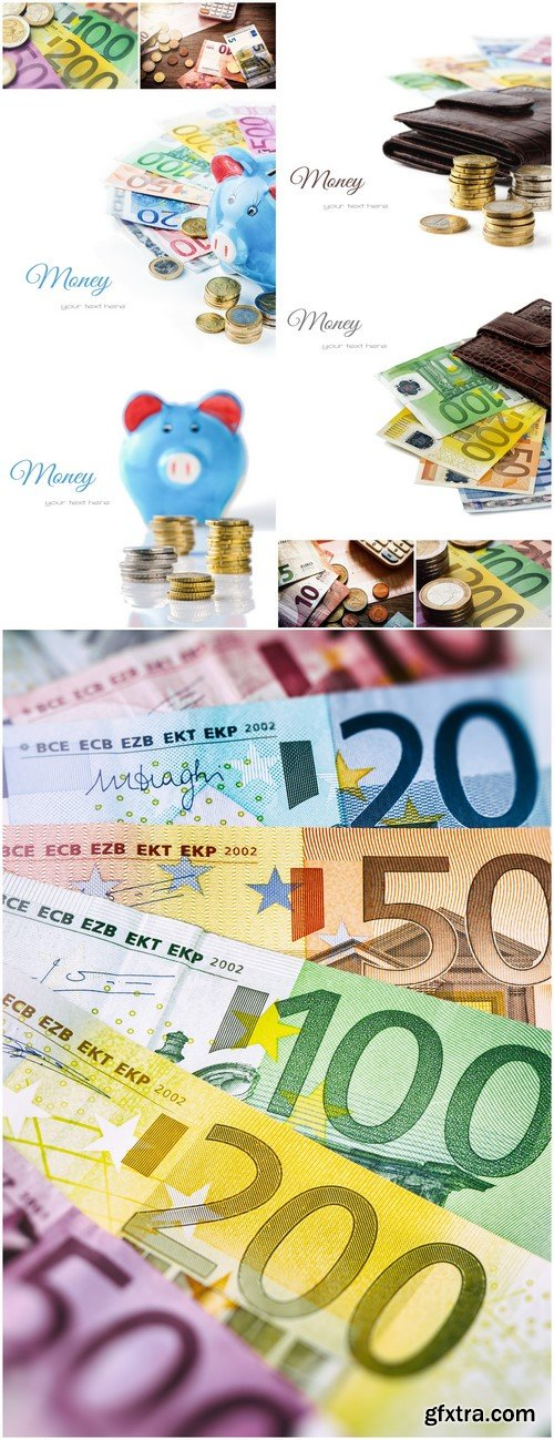 Euro banknotes and coins 9X JPEG
