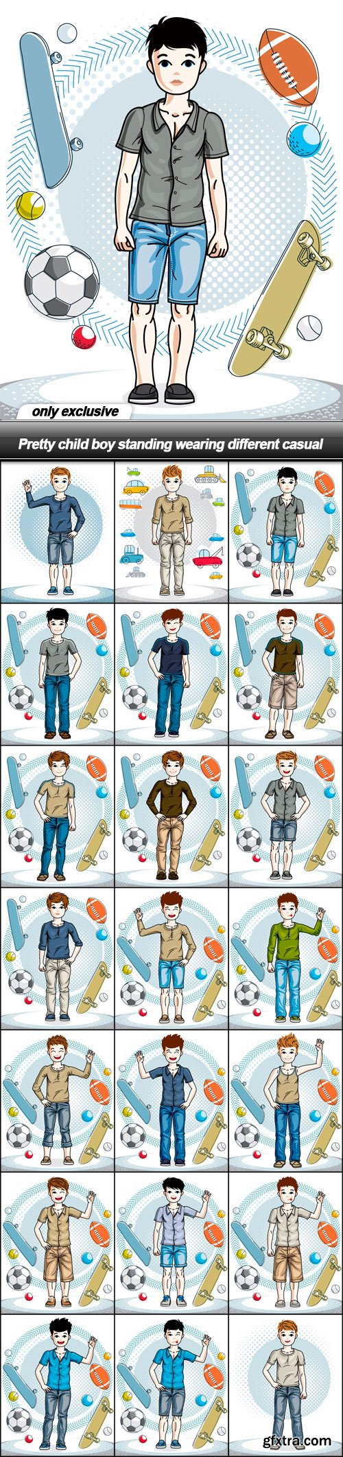 Pretty child boy standing wearing different casual - 21 EPS