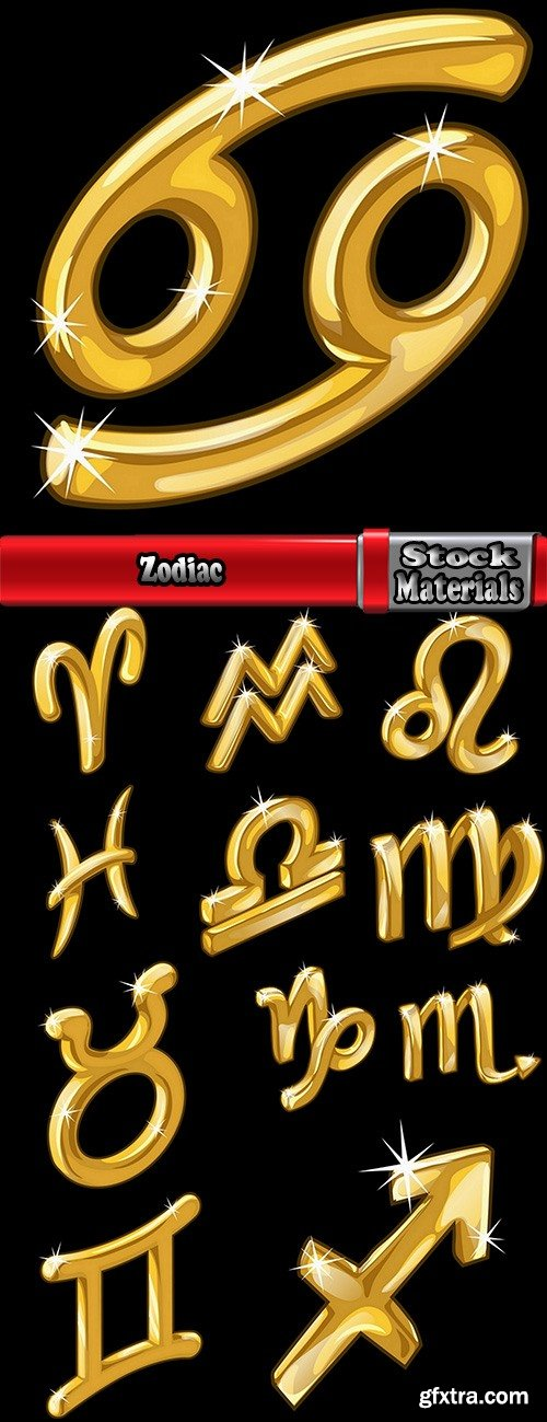 Zodiac golden icon logo banner flyer 12 EPS